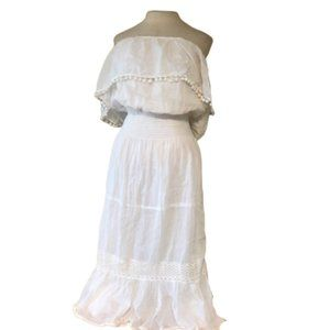 MLLE GABRIELLE White Bohemian Summer Midi Dress